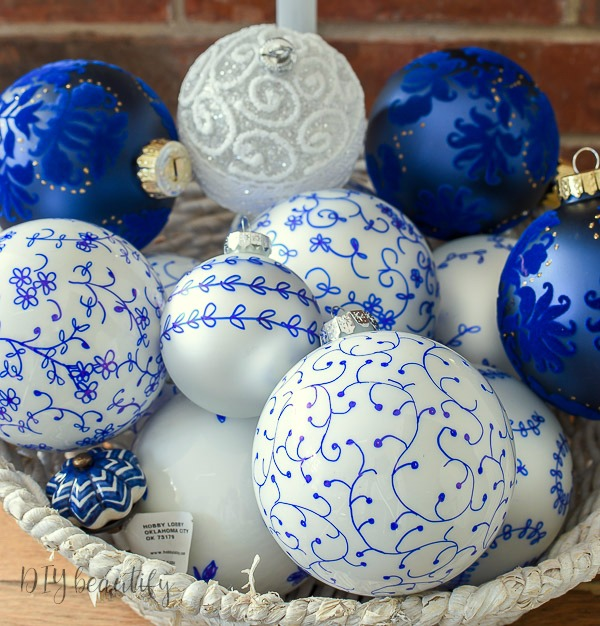 blue and white ornaments - Easy Blue And White French Farmhouse Ornaments DIY Beautify
