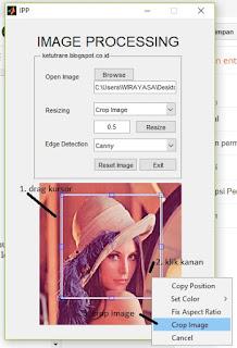 Cropping image di GUI Matlab