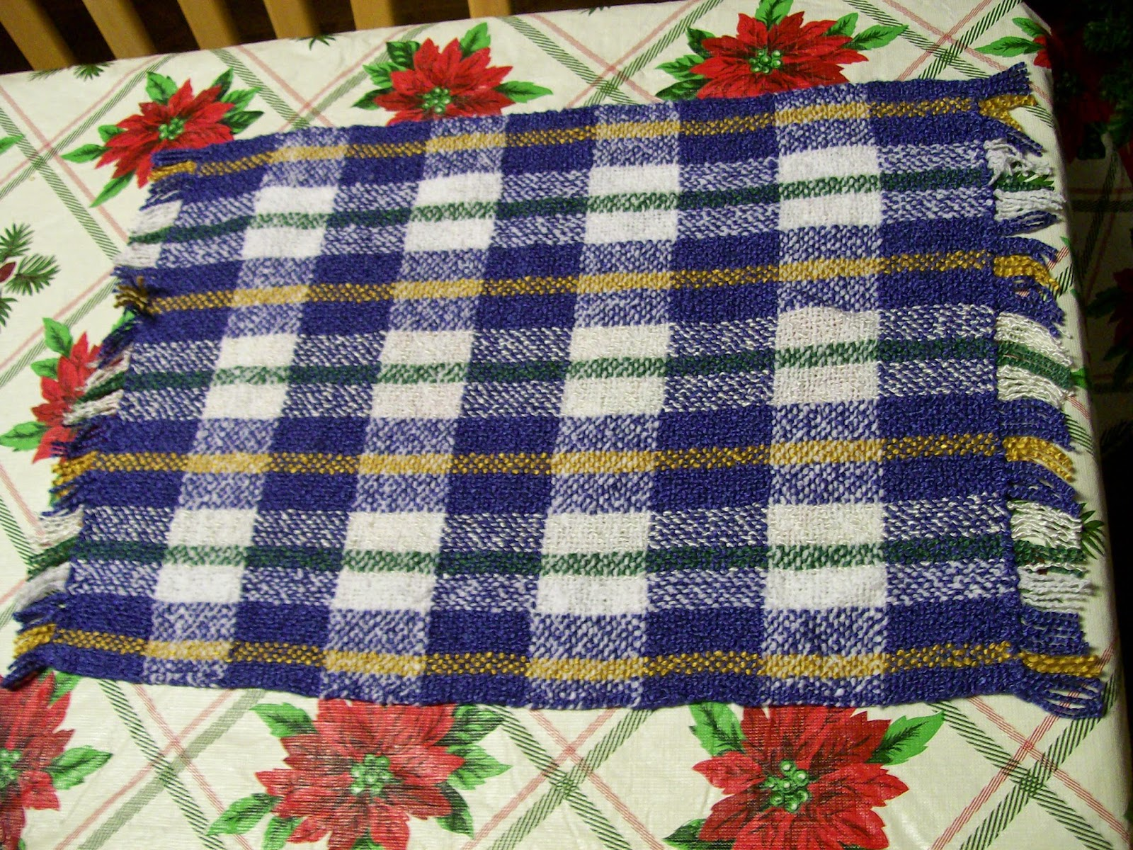 Handwoven plaid placemat.