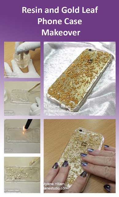 Step by step project sheet for how to makeover your phonecase with resin and gold leaf.