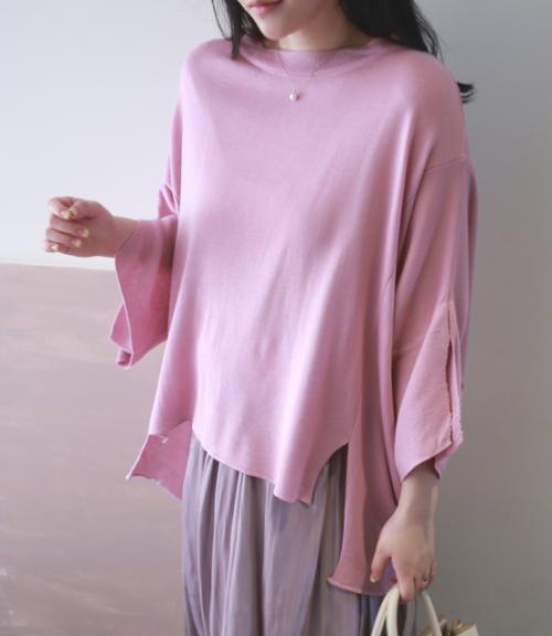 Slit High-Low Hem Loose T-Shirt