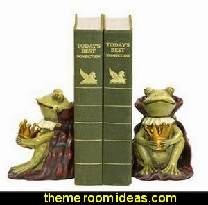 Frog Prince Bookends frog theme bedrooms - frog theme decor - frog themed gifts - froggy wallpaper murals - frog wall decals - frogs in a pond wall decor -  Frog Prince decor