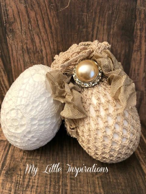 Uova in Pizzo Shabby Vintage - uovo bianco e beige - MLI