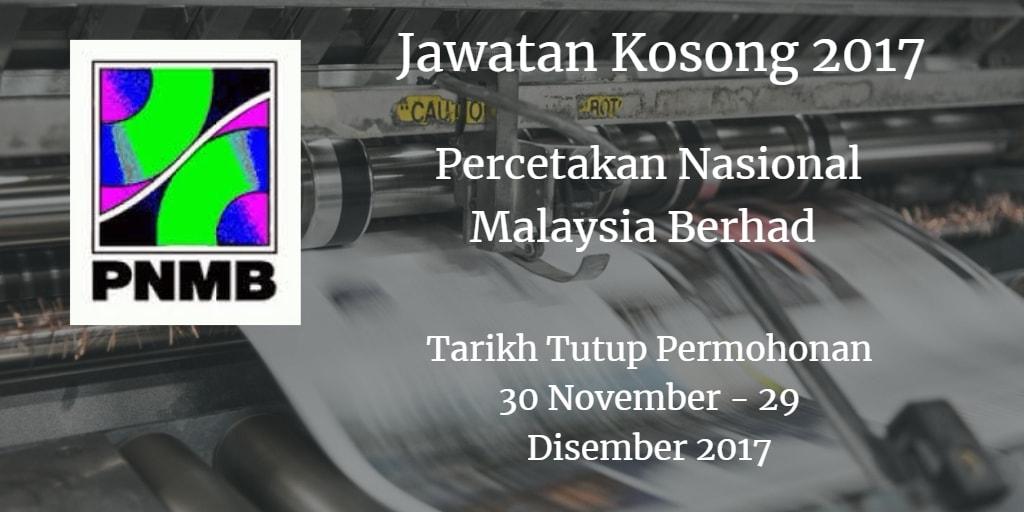 Jawatan Kosong PNMB 30 November - 29 Disember 2017