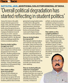 'Overall political degradation has started reflecting in student politics' - Satya Pal Jain, Additional Solicitor General of India