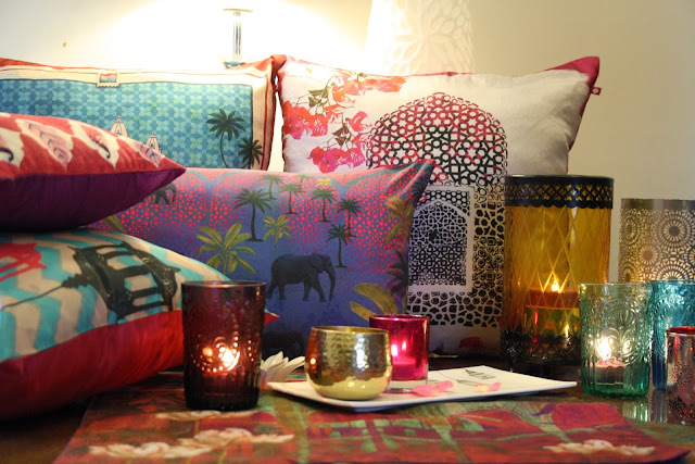 Decor Styles India Bright Colorful Patterned Pillows and Glasses