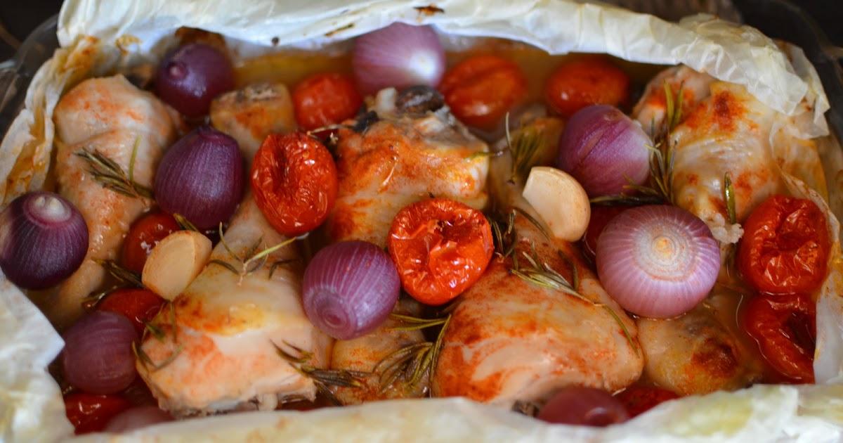 Muslitos de pollo con cebollitas y tomates cherry light - Muslitos de pollo ...