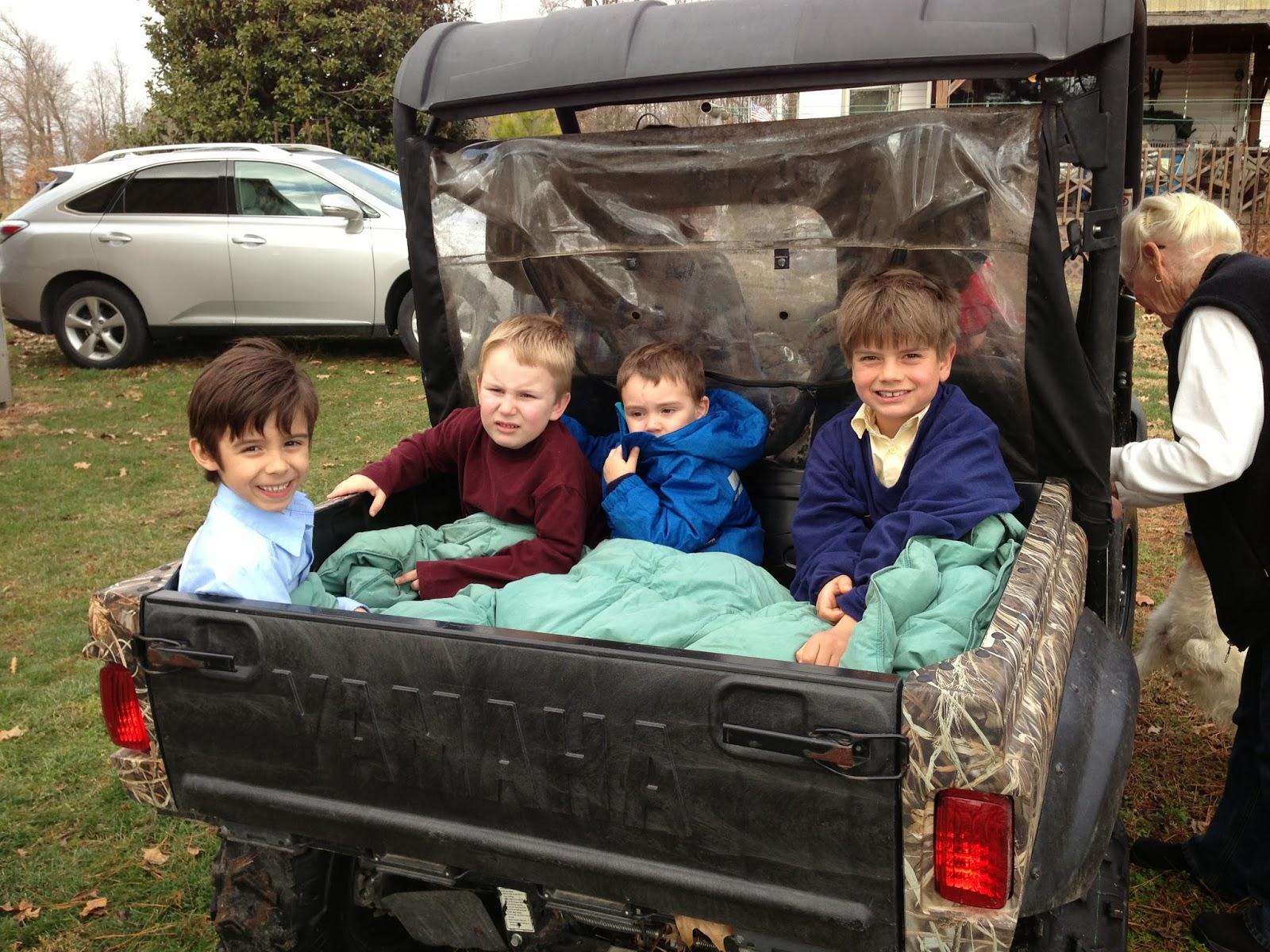 farm, off-road vehicle, boys smiling