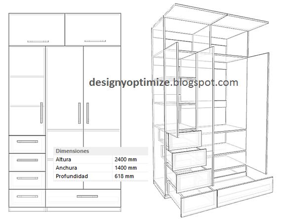 Dise o de muebles madera ropero con gavetas y zapatera for Planos de roperos