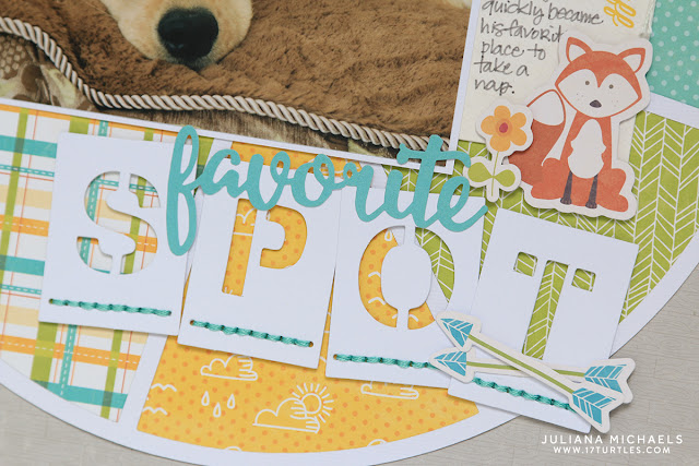 Favorite Spot Dog Scrapbook Page by Juliana Michaels featuring Pie Chart 17turtles Free Digital Cut File and Jillibean Soup Mushroom Medley
