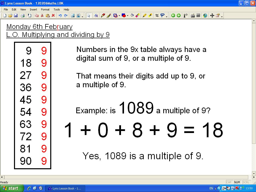 Mr Howe S Class Maths Multiples Of 9