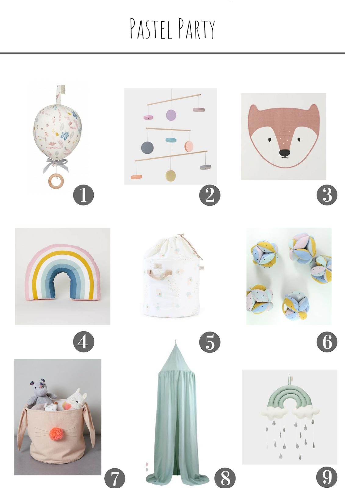 selection de decoration pour la chambre des enfants bebe pastel arc en ciel mobile coussin nobidinoz cam cam