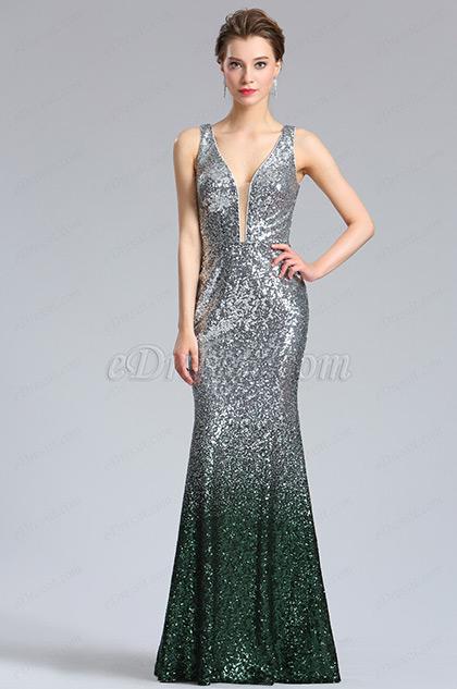 Elegant Deep V-Cut silver Green Sequins Party Dress