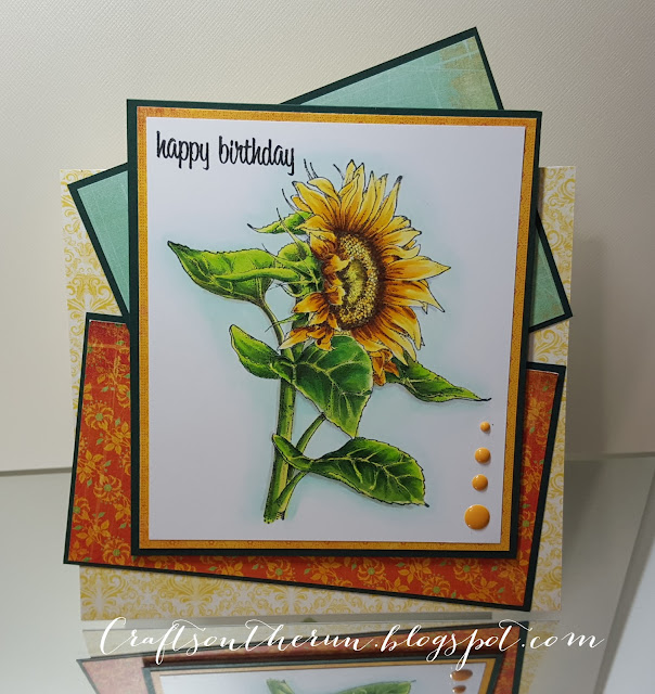 birthday card, copic markers, jennifer dove, sunflower, cc designs