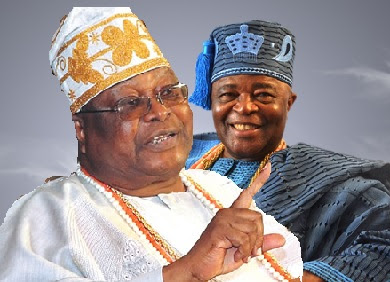 the Awujale of Ijebuland, Oba Sikiru Adetona and the Alake of Egbaland, Oba Adedotun Gbadebo