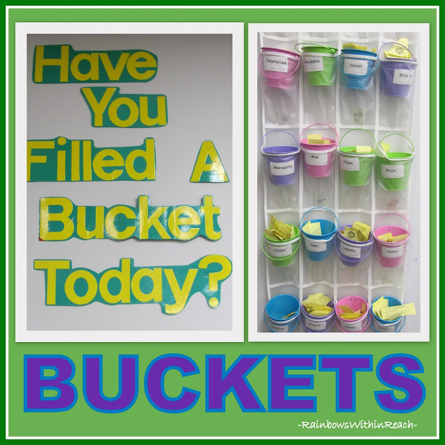 "photo of: ""Have you Filled a Bucket Today?"" Buckets in shoe organizer! Classroom decor and organization at RainbowsWithinReach"