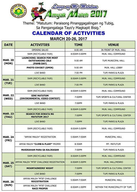 Linggo ng Matutum & Amyak Maleh 2017 Calendar of Activities