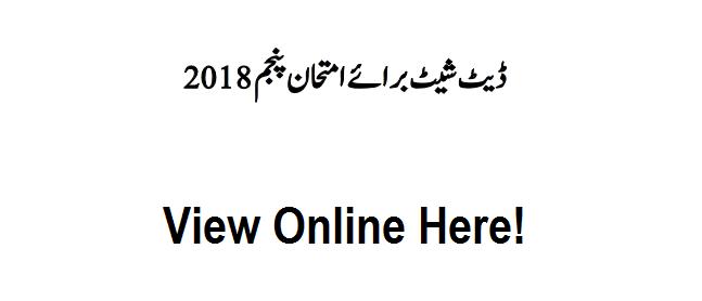 5th Class Date Sheet View Online - 2018 PEC