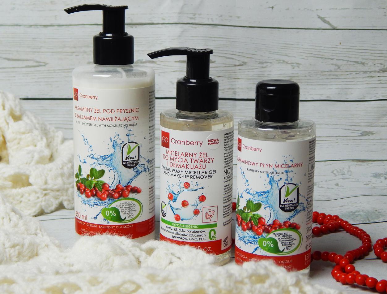 Żurawinowe trio oczyszczające - GoCranberry płyn micelarny, żel micelarny i żel pod prysznic
