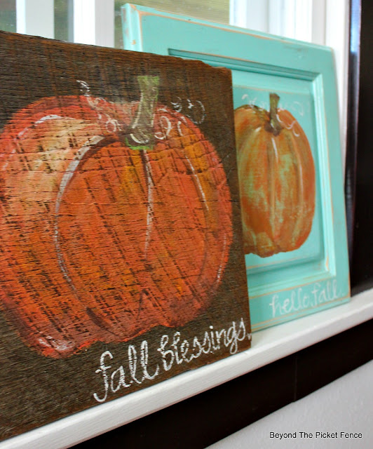 pumpkin sign, rustic, hand-lettered, fall sign, autumn, paint, barnwood, cupboard door, https://goo.gl/nISyuY