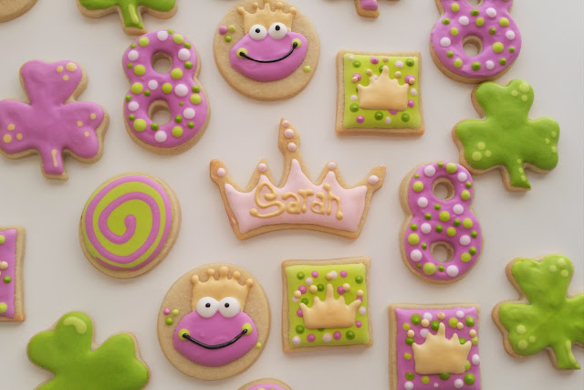frog princess prince shamrock clover crown eight swirls gold purple green pink sugar cookies royal icing jellybeantrail dawn garnette