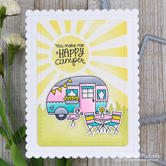 Camper Card by Juliana Michaels | Cozy Campers Stamp Set and Sunscape Stencil by Newton's Nook Designs #newtonsnook #handmade