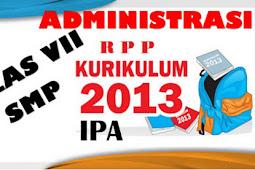 Perangkat Administrasi RPP IPA Kelas VII Kurikulum 2013 Terbaru