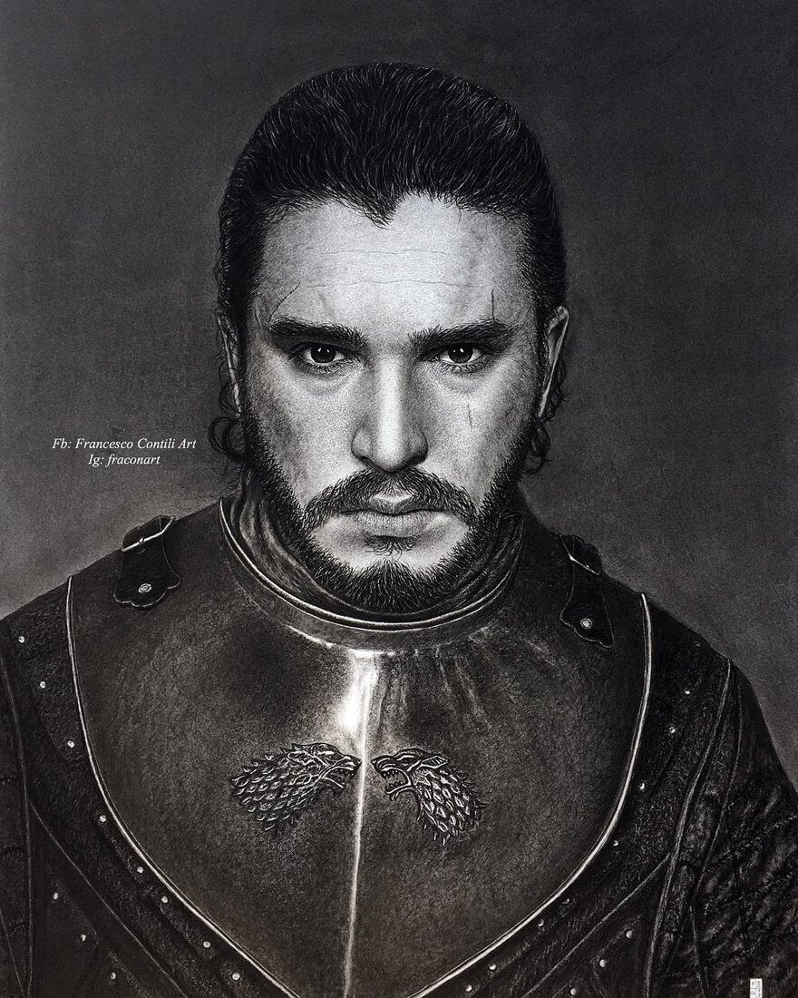 05-Kit-Harington-Game-of-Thrones-Jon-Snow-Francesco-Contili-Realistic-Graphite-and-Charcoal-Portrait-Drawings-www-designstack-co