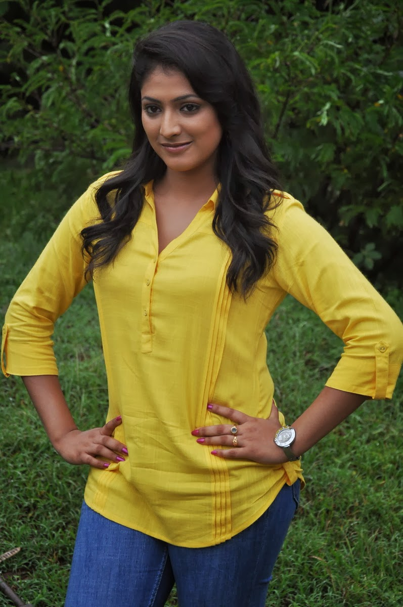 Kannada Actress Hari Priya Beautiful Stills In Yellow Dress