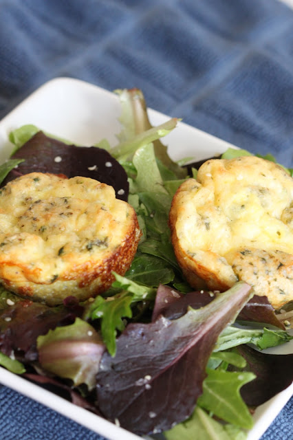 Herbed Egg Muffins on Mixed Greens | Tortillas and Honey