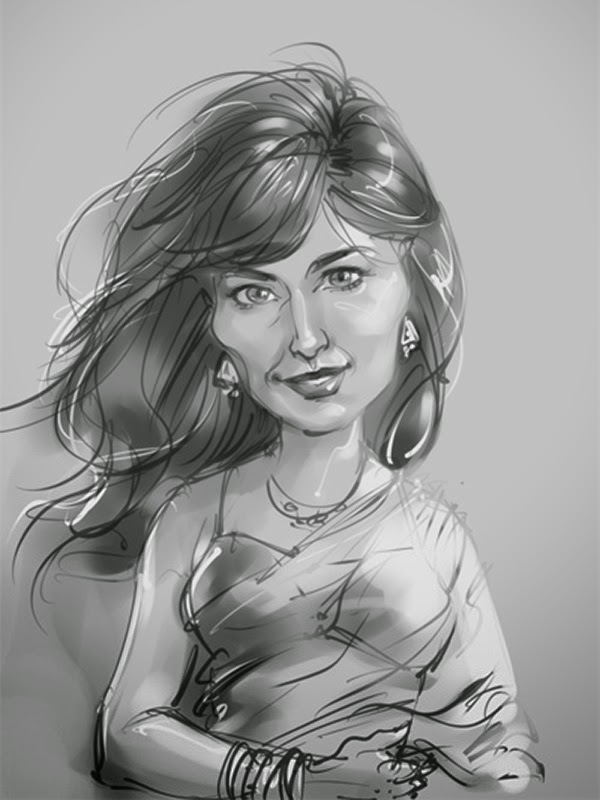 chitrangada singh caricature sketch