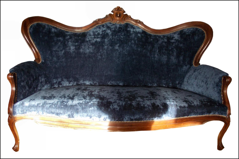 Renat Art Canapé en velours bleu