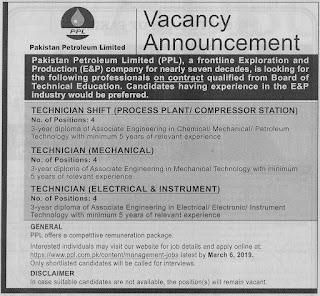 PPL Jobs 2019 Pakistan Petroleum Limited Apply Online for Technicians Latest