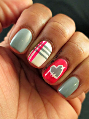 Royal Nail Icing, Sweet Concrete, Strawberry Lava, plaid, patchwork, heart, quilt, grey, fuchsia, pink, crelly, nails, nail art, nail design, mani