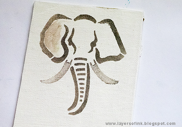 Layers of ink - Elephant Mini Canvas by Anna-Karin with a StencilGirl stencil.