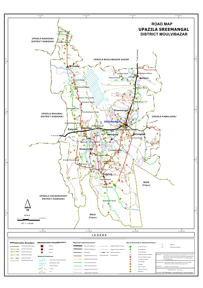 Sreemangal Upazila Road Map Moulvibazar District Bangladesh