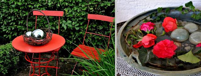 Rot Farbe als Hingucker Gartendeko