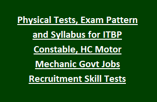Physical Tests, Exam Pattern and Syllabus for ITBP Constable, Head Constable Motor Mechanic Govt Jobs Recruitment Skill Tests Notification 2018