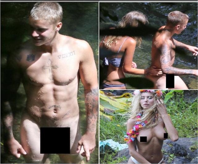 Justin Bieber es capturado completamente desnudo en una playa de hawai