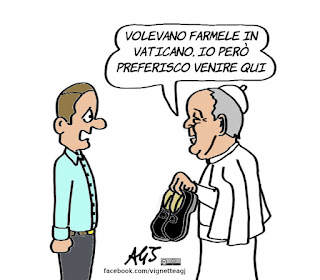 papa francesco, vaticano, scarpe, vignetta, satira