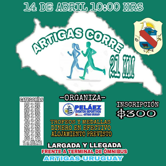 21k Media maratón Artigas corre (Artigas, 14/abr/2019)