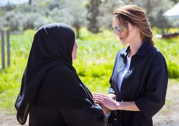 Queen Rania joined hikers in the village of Rmeimeen to take part in the Jordan Trail's second annual Thru-Hike