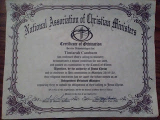 Timiarah Camburn Certificate of Ordination