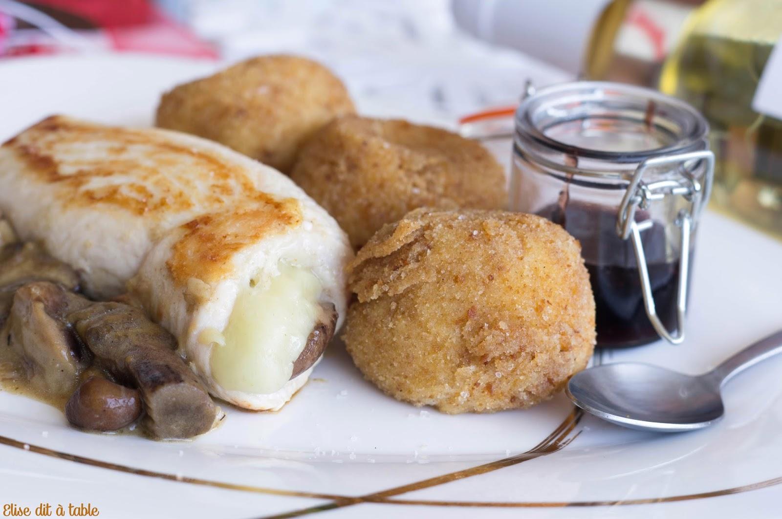 recette Ballottine de poulet, champignons, ossau iraty et sauce à la cerise