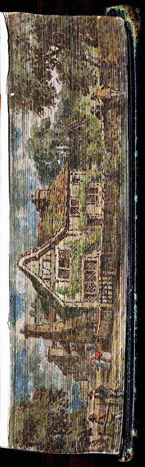 1818 book fore-edge art, a painting or  drawing on the ends of the closed pages, a color photograph
