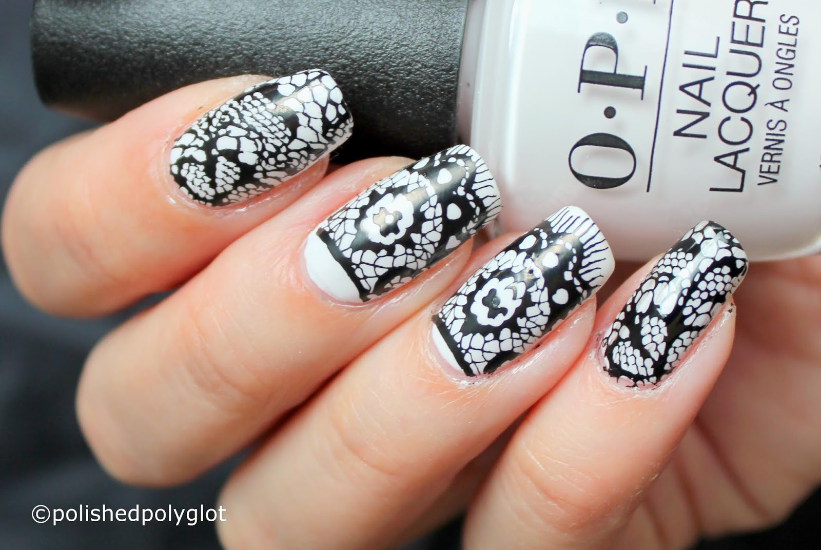Nail Art │ Black and White Lace Manicure [Nail Crazies Unite ...