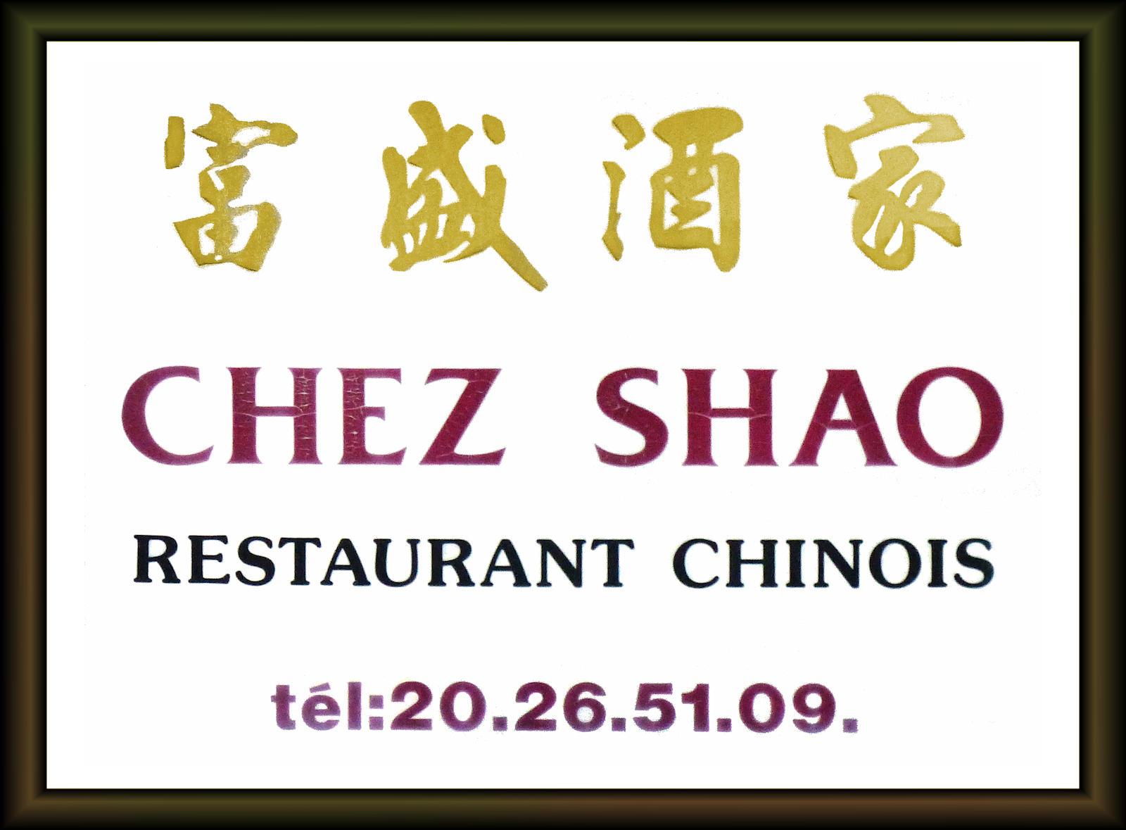 Resto Chinois Tourcoing - Chez Shao - Enseigne.