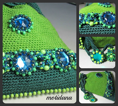 crochet purse, bead embellished
