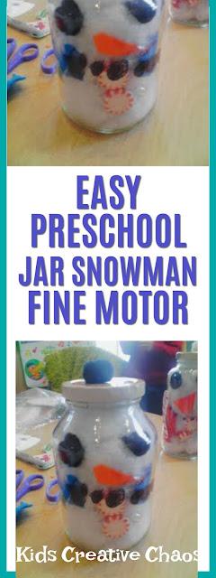 easy snowman in jar preschool fine motor skills activity