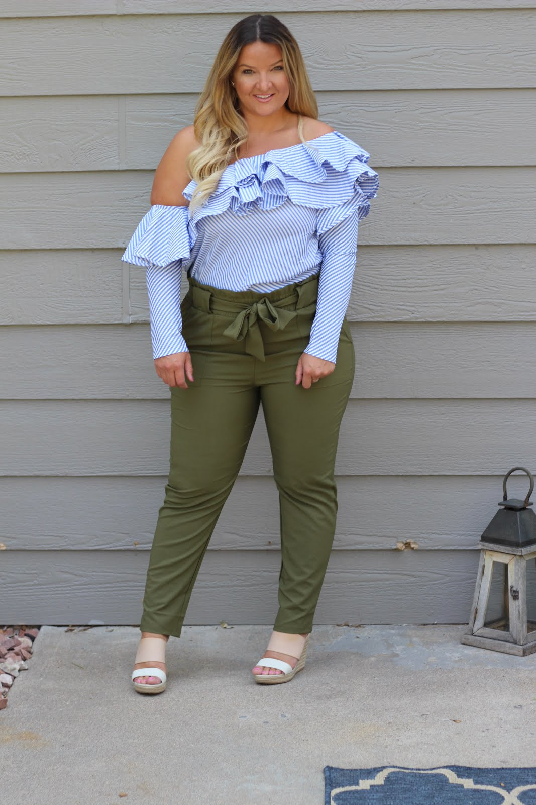 Grace Karin Paper Bag Waist Pants available on Amazon styled by top Denver fashion blogger, Delayna Denaye